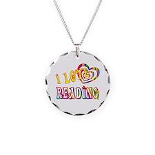 I Love Reading Necklace Circle Charm