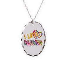 I Love Reading Necklace Oval Charm