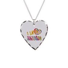 I Love Reading Necklace Heart Charm