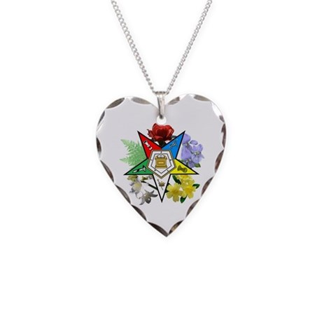 Eastern Star Floral Emblems Necklace Heart Charm
