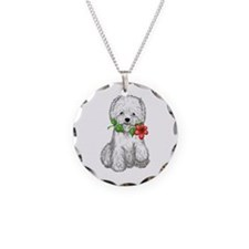 Westie with Flower Necklace