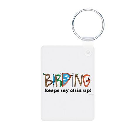 BIRDING keeps my chin up!© Aluminum Photo Keychain