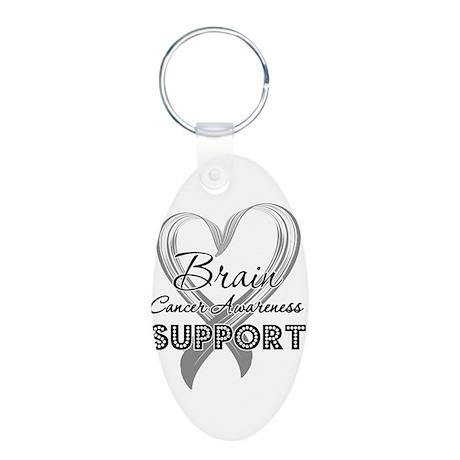 Brain Cancer Support Aluminum Oval Keychain
