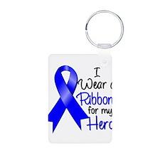 Colon Cancer Ribbon Hero Aluminum Photo Keychain