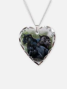 Black Jaguar Necklace Heart Charm