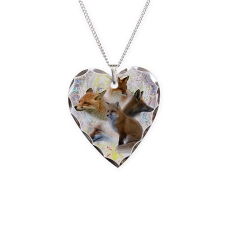 Foxes Necklace Heart Charm