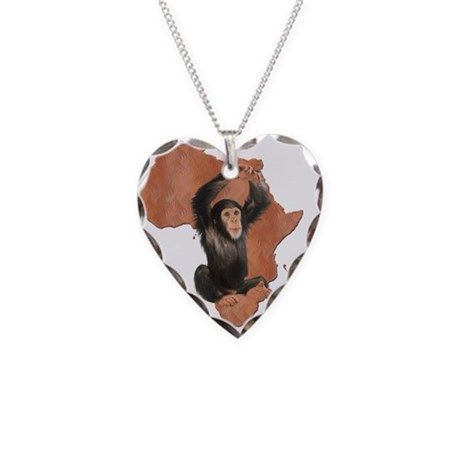 Africa Chimp Necklace Heart Charm