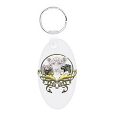 White Tiger Aluminum Oval Keychain
