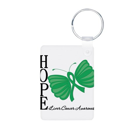 Hope Butterfly Liver Cancer Aluminum Photo Keychai