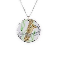 Soprano Saxophone Necklace Circle Charm