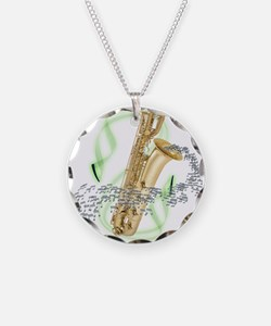Soprano Saxophone Necklace Circle Charm