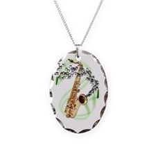 Tenor Saxophone Necklace Oval Charm