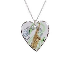 Alto Saxophone Necklace Heart Charm