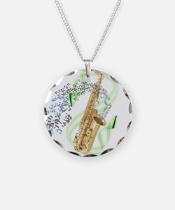 Alto Saxophone Necklace Circle Charm