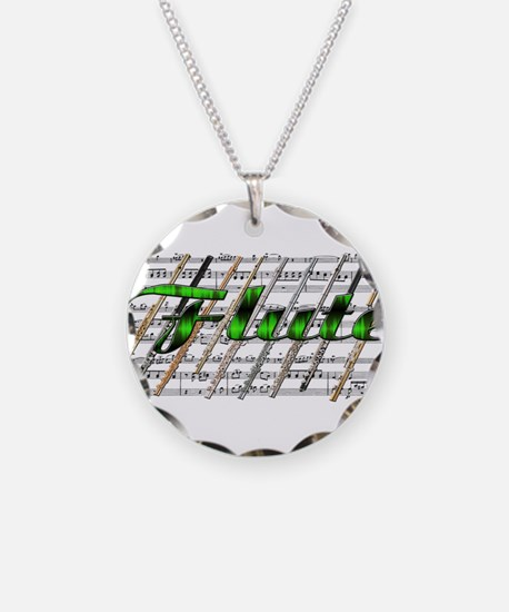 Flute Necklace Circle Charm