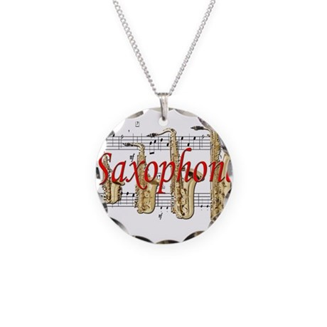 Saxophone Necklace Circle Charm