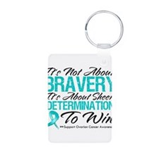 Bravery Ovarian Cancer Aluminum Photo Keychain