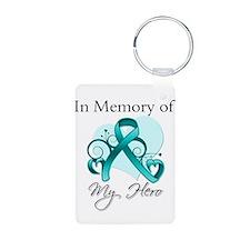 In Memory Hero Ovarian Cancer Aluminum Photo Keych
