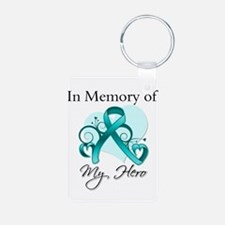 In Memory Hero Ovarian Cancer Keychains