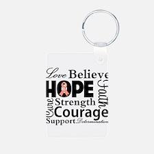Uterine Cancer Hope Collage Keychains