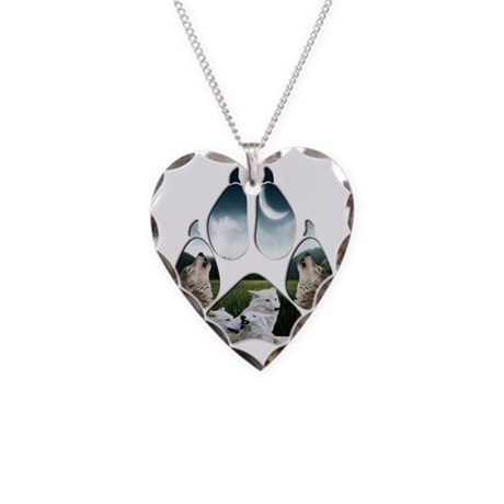 Wolf Print Necklace Heart Charm