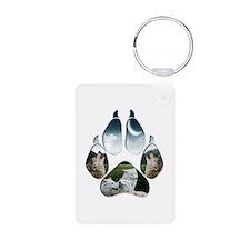 Wolf Print Aluminum Photo Keychain