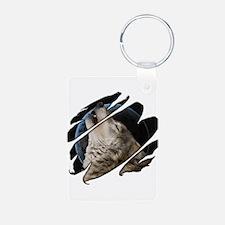 See Through Wolf Aluminum Photo Keychain