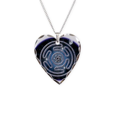 Celestial Hecate's Wheel Necklace Heart Charm