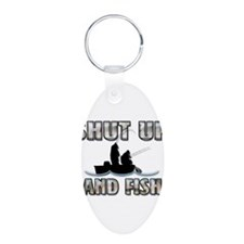 Shut Up & Fish Aluminum Oval Keychain