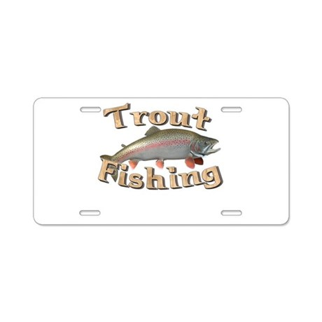 Trout fishing aluminum license plate by sbgraphics for Fishing license plate