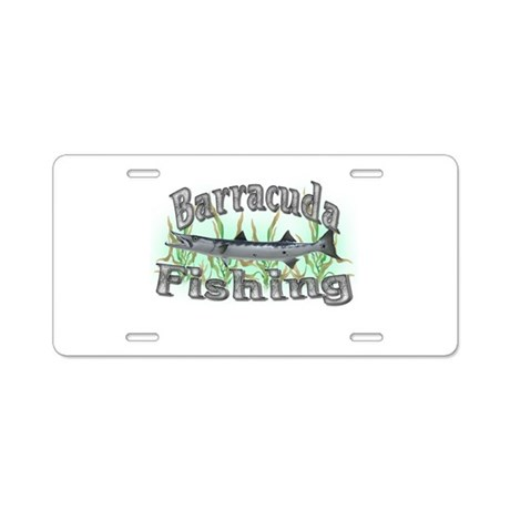 Barracuda fishing aluminum license plate by sbgraphics for Fishing license plate