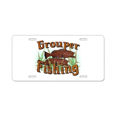 Grouper fishing aluminum license plate by sbgraphics for Fishing license plate