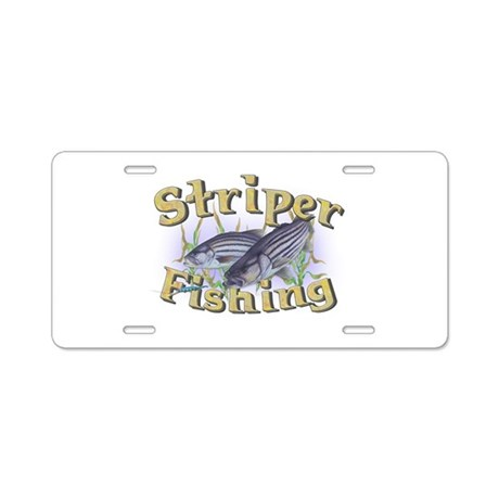 Striper fishing aluminum license plate by sbgraphics for Fishing license plate