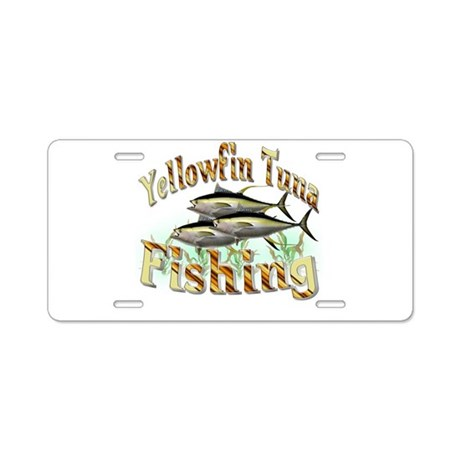Yellowfin tuna fishing aluminum license plate by sbgraphics for Fishing license plate