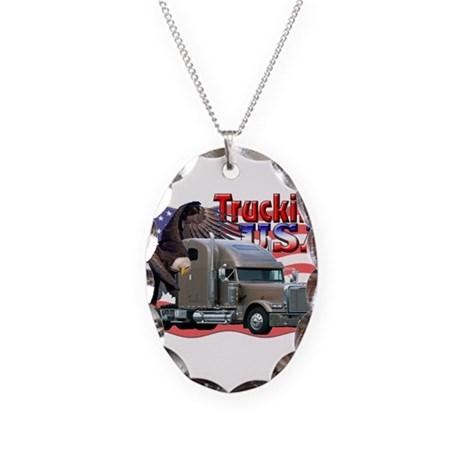 Trucking USA Necklace Oval Charm