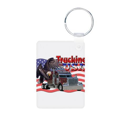 Trucking USA Aluminum Photo Keychain
