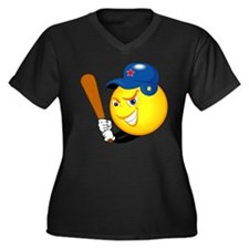 SMILEY softball {1} Women's Plus Size V-Neck Dark