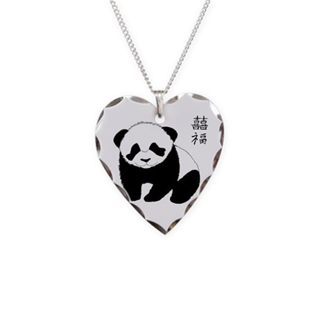 Panda Cub Necklace Heart Charm