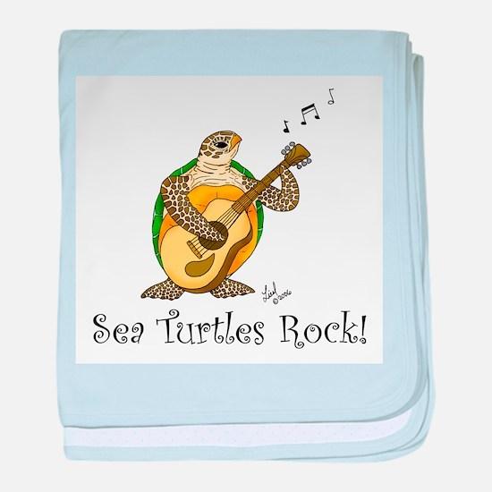 Sea Turtles Rock baby blanket