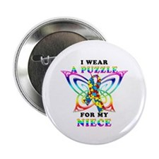 """I Wear A Puzzle for my Niece 2.25"""" Button (10 pack"""