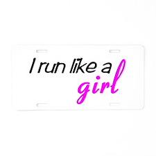 Cute Run like a girl Aluminum License Plate