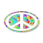 Peace Groovy Floral 22x14 Oval Wall Peel