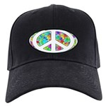 Peace Groovy Floral Black Cap