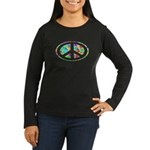Peace Groovy Floral Women's Long Sleeve Dark T-Shi