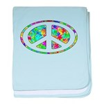 Peace Groovy Floral baby blanket