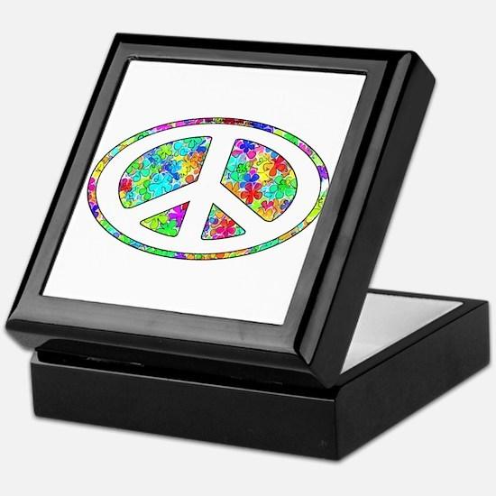 Peace Groovy Floral Keepsake Box