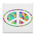 Peace Groovy Floral Tile Coaster