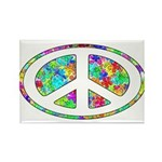 Peace Groovy Floral Rectangle Magnet