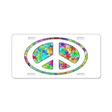 Peace Groovy Floral Aluminum License Plate