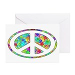 Peace Groovy Floral Greeting Cards (Pk of 10)